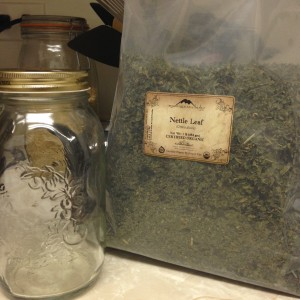 Getting started - a mason jar and a bag of my dried herb of choice. Photo from my personal collection.