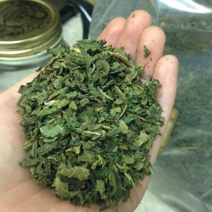 An ounce of dried herb, roughly measured at a handful. Photo from my personal collection.
