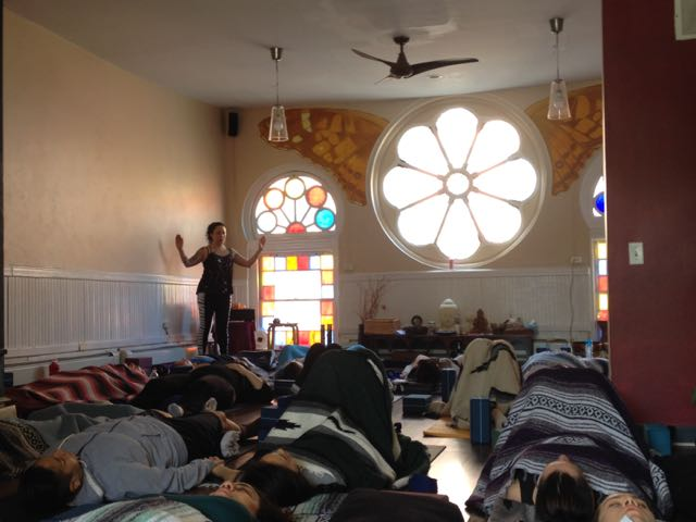 Yours truly performing group Reiki at the workshop.